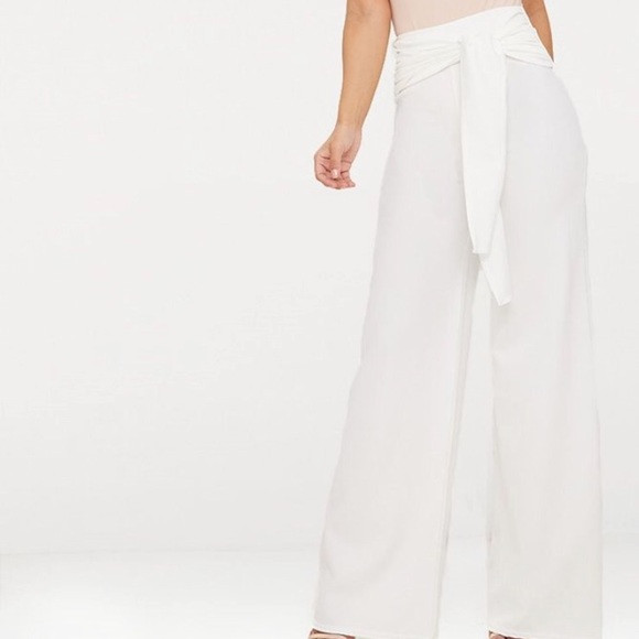 796a09ce1d45 White Tie Front Wide Leg Trousers. NWT